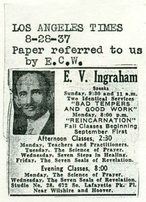 1937 publicity for EV Ingraham lecture