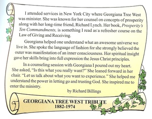 Richard Billings tribute to Georgiana Tree West